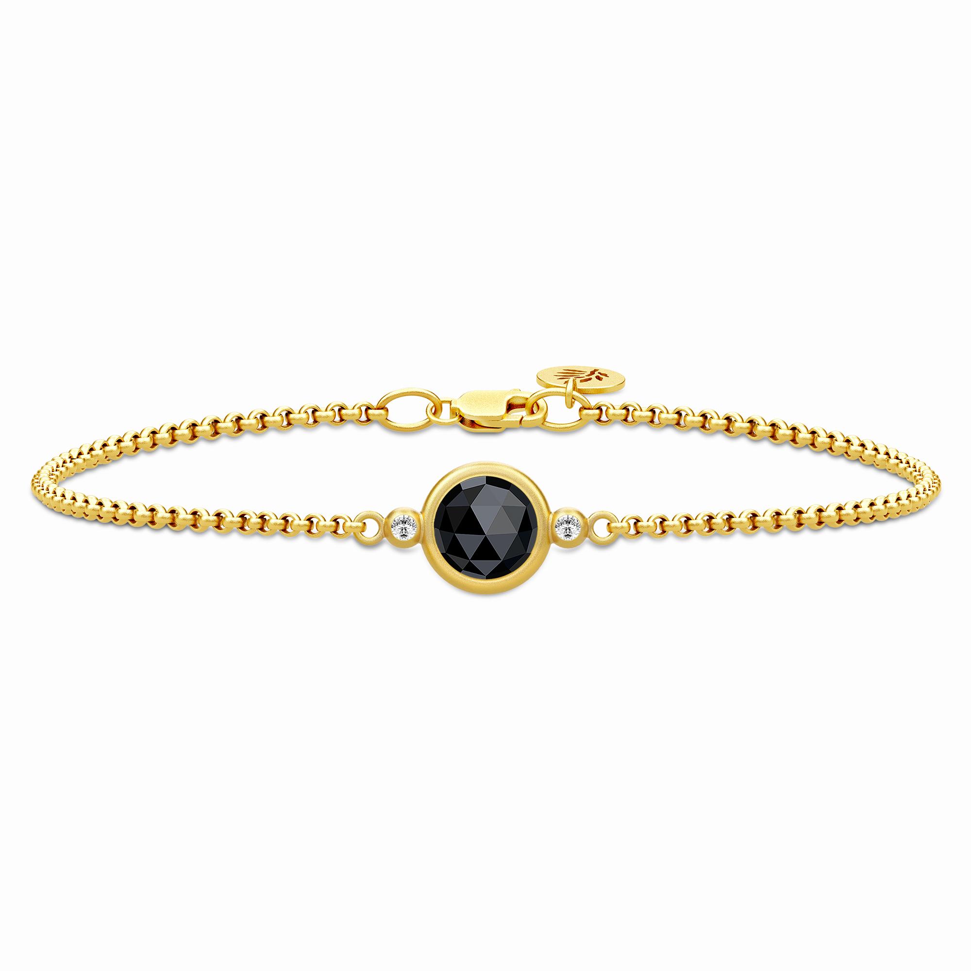 Image of   Julie Sandlau Moon armbånd i forgyldt med onyx