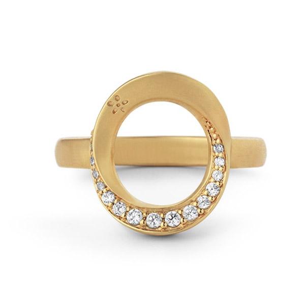 Image of   ByBiehl Swan ring forgyldt med zirkonia