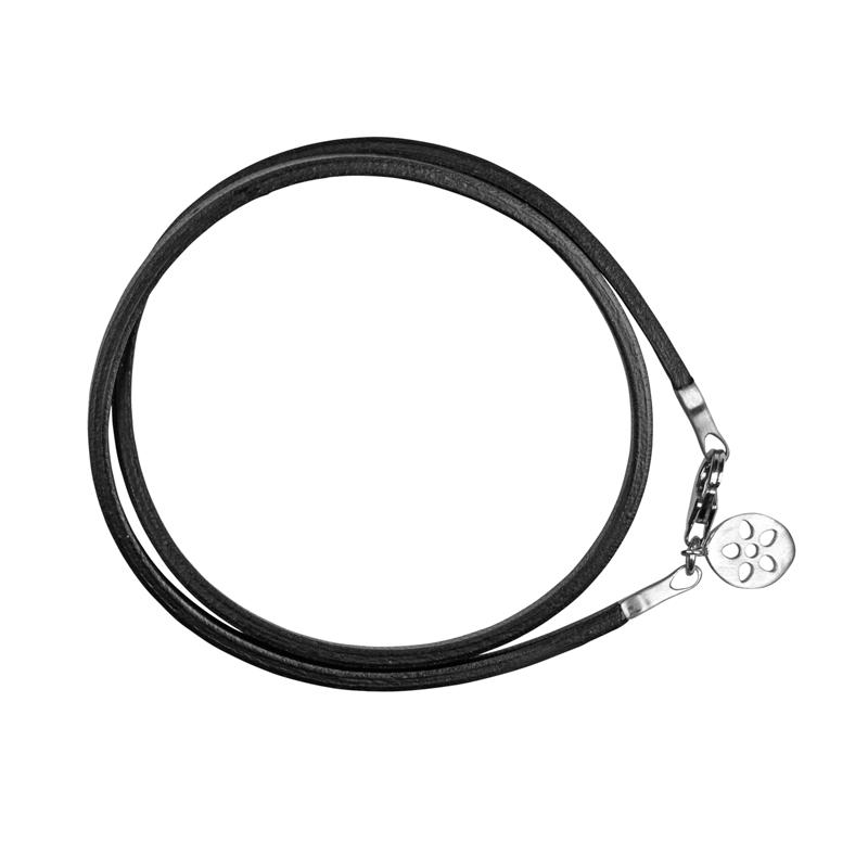 Image of   ByBiehl armbånd sort læder med sølv lås