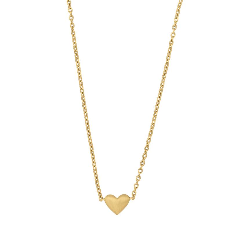 ByBiehl Sweet Love halskæde med et hjerte, forgyldt