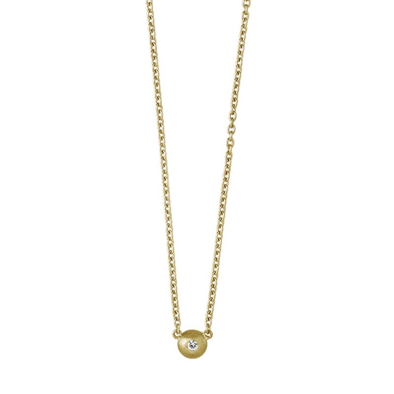ByBiehl Iris halskæde med vedhæng, 18 kt. guld med 0,03 ct. diamant