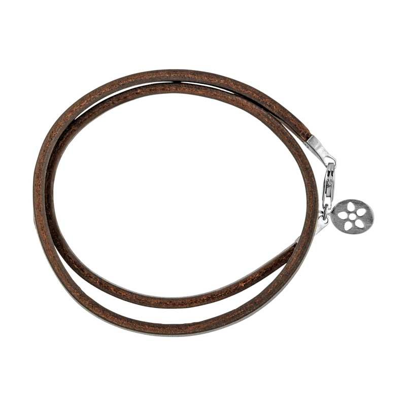 Image of   ByBiehl læder armbånd brun med sølv lås