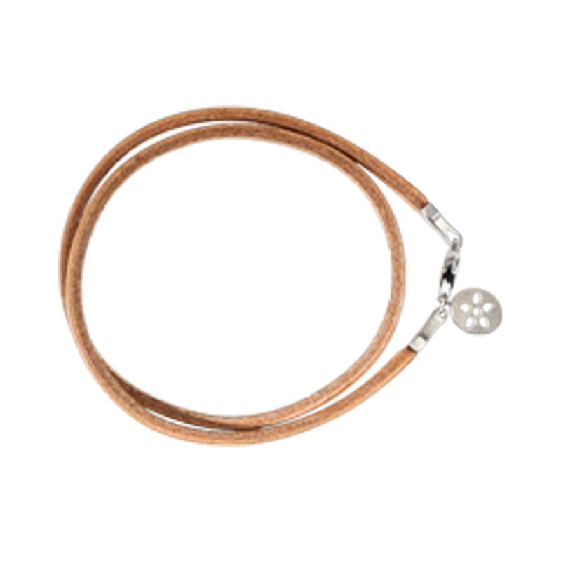 Image of   ByBiehl læder armbånd nude med sølv lås