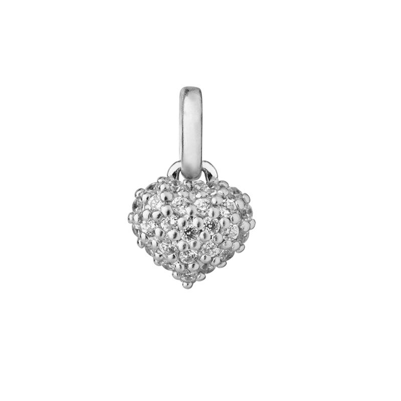 Image of   ByBiehl Love & Friendship Mini Sparkle hjerte vedhæng, sølv med cz