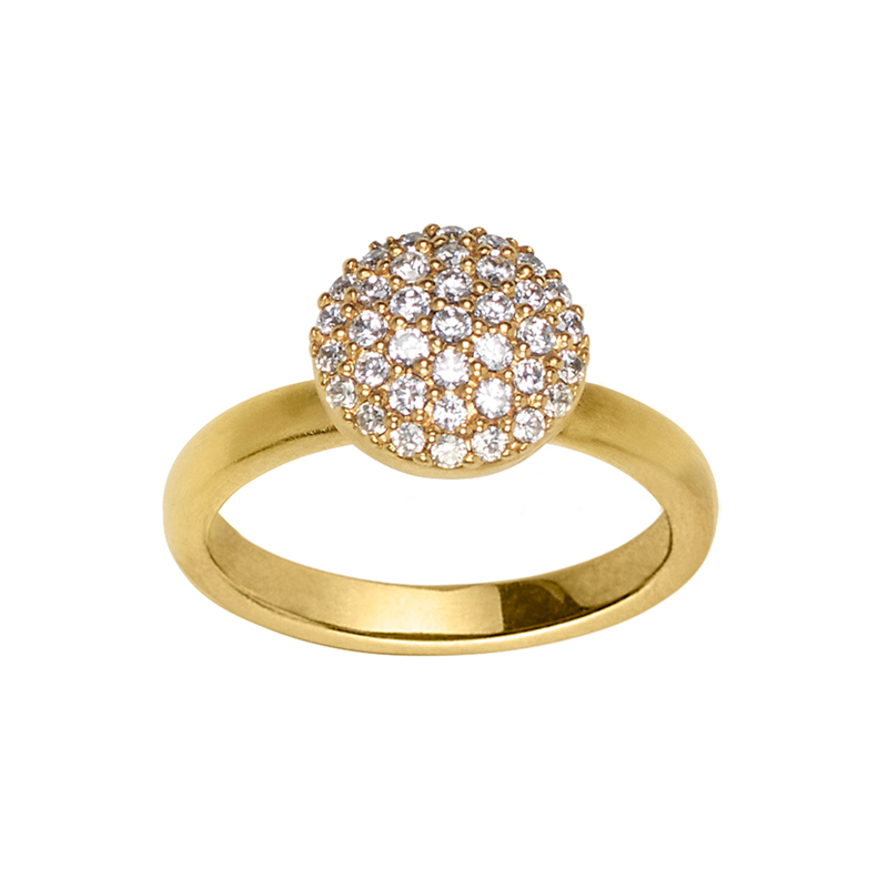 Image of   ByBiehl Mini Sparkle Gold ring forgyldt med hvide zirkonia