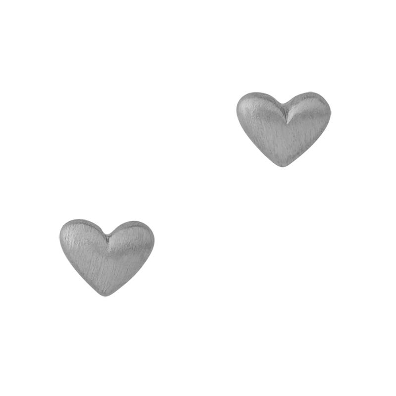 ByBiehl Sweet Love ørestikker med hjerte, sølv