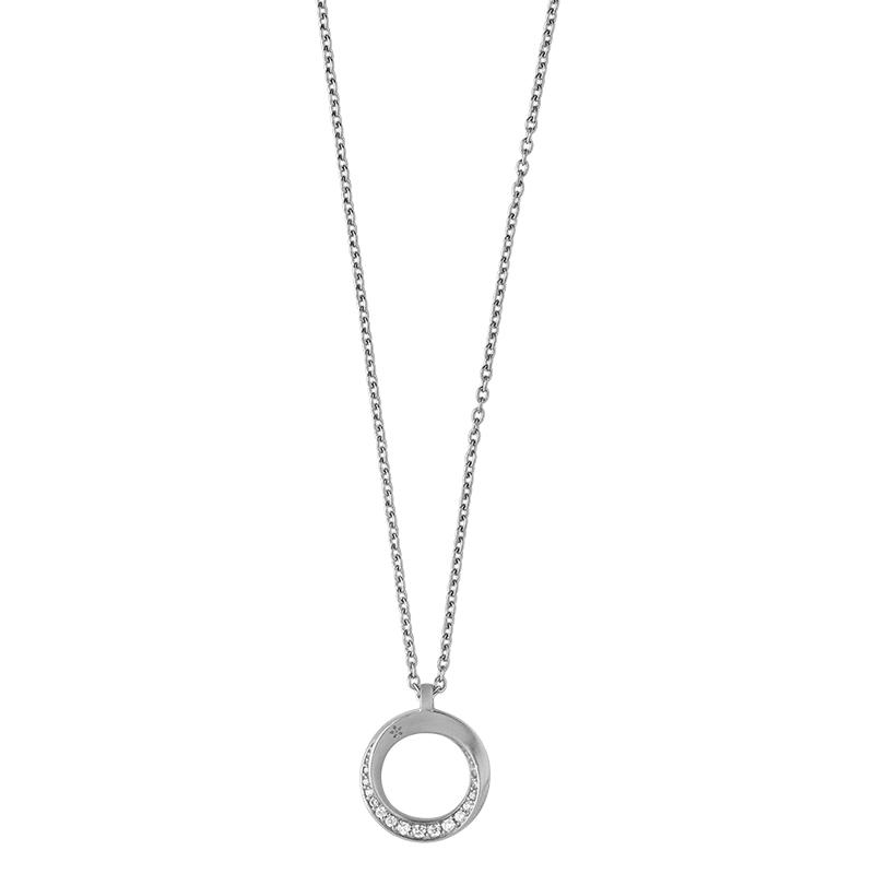Image of   ByBiehl Swan halskæde med cirkel vedhæng, sølv