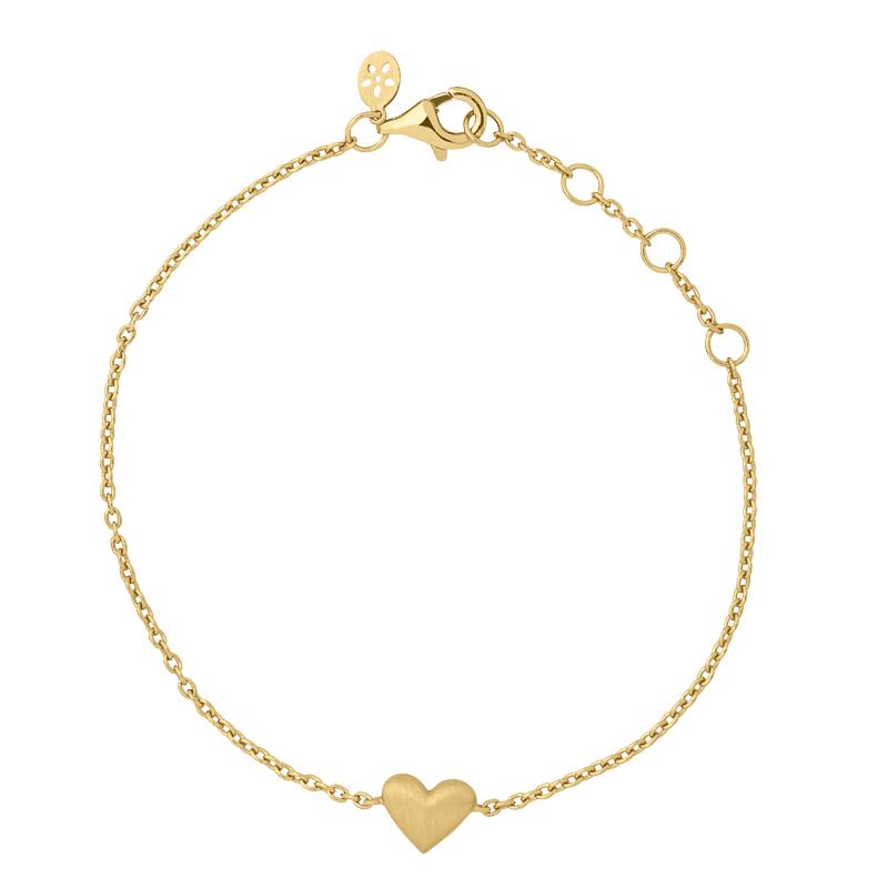 Image of   ByBiehl Sweet Love armbånd med et hjerte, forgyldt
