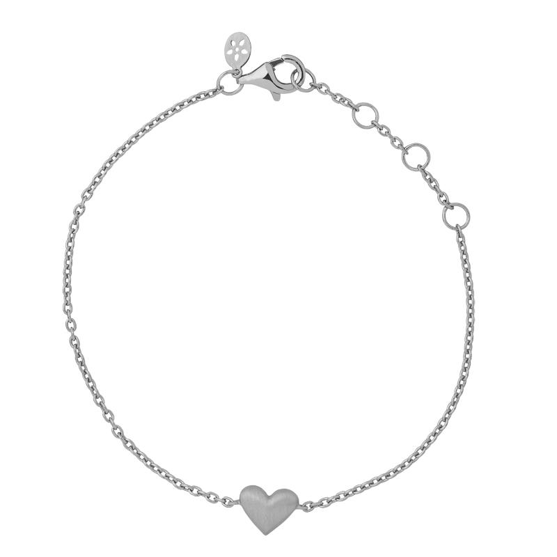 ByBiehl Sweet Love armbånd med et hjerte, sølv