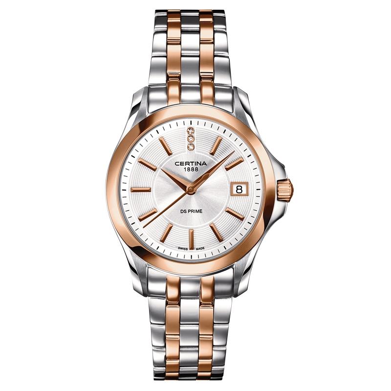 Certina DS Prime Lady Round armbåndsur i bicolor med 3 diamanter og stål lænke