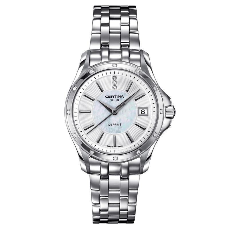 Certina DS Prime Lady Round armbåndsur med perlemorsskive, 15 diamanter og stål lænke