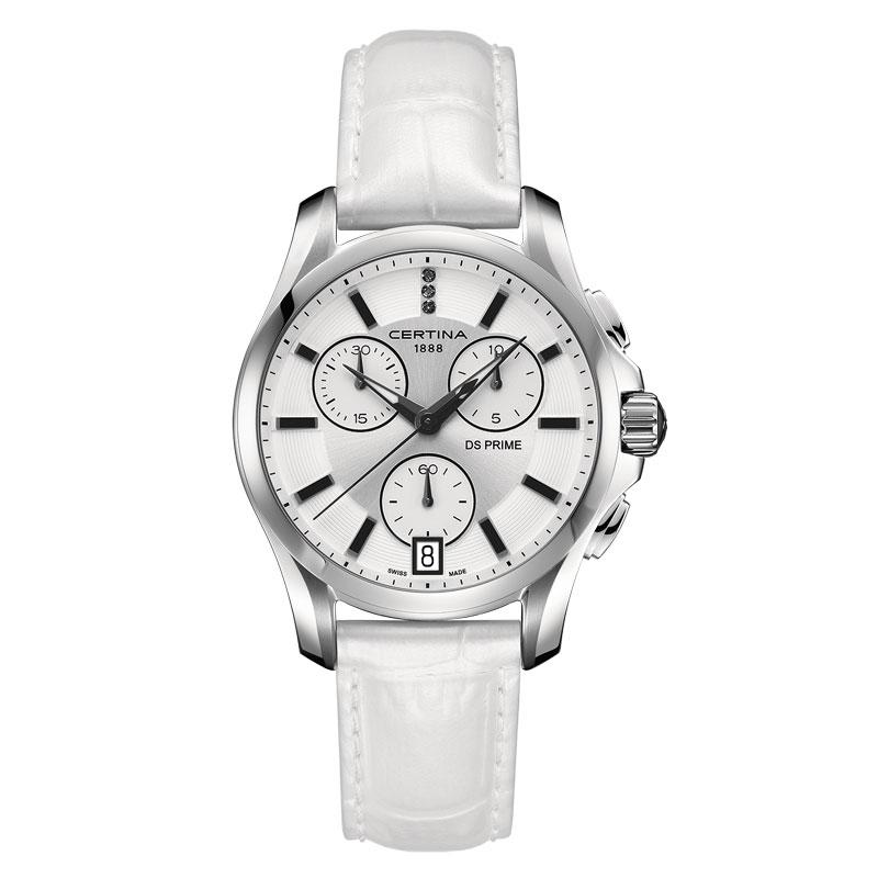 Image of   Certina DS Prime Lady Round dameur, chronograph med hvid skive, diamanter og hvid læderrem