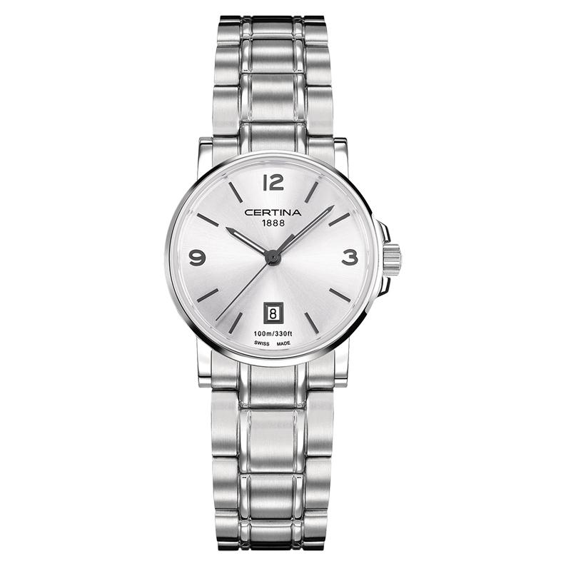 Certina DS Caimano lady armbåndsur i stål med sølvgrå skive og lænke