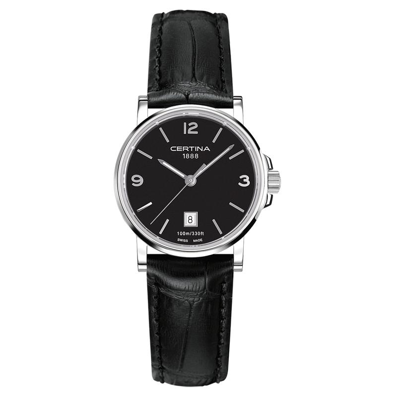 Image of   Certina DS Caimano lady armbåndsur i stål med sort skive og sort læderrem