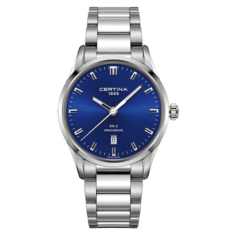 Image of   Certina DS-2 armbåndsur i stål med blå skive og stållænke
