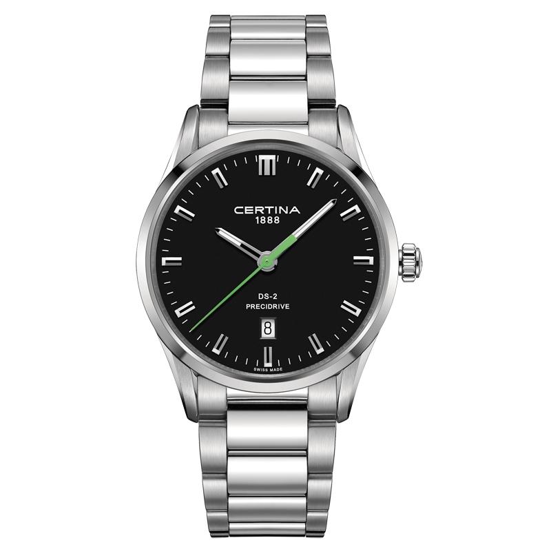 Image of   Certina DS-2 armbåndsur i stål med sort skive og grøn sekundviser
