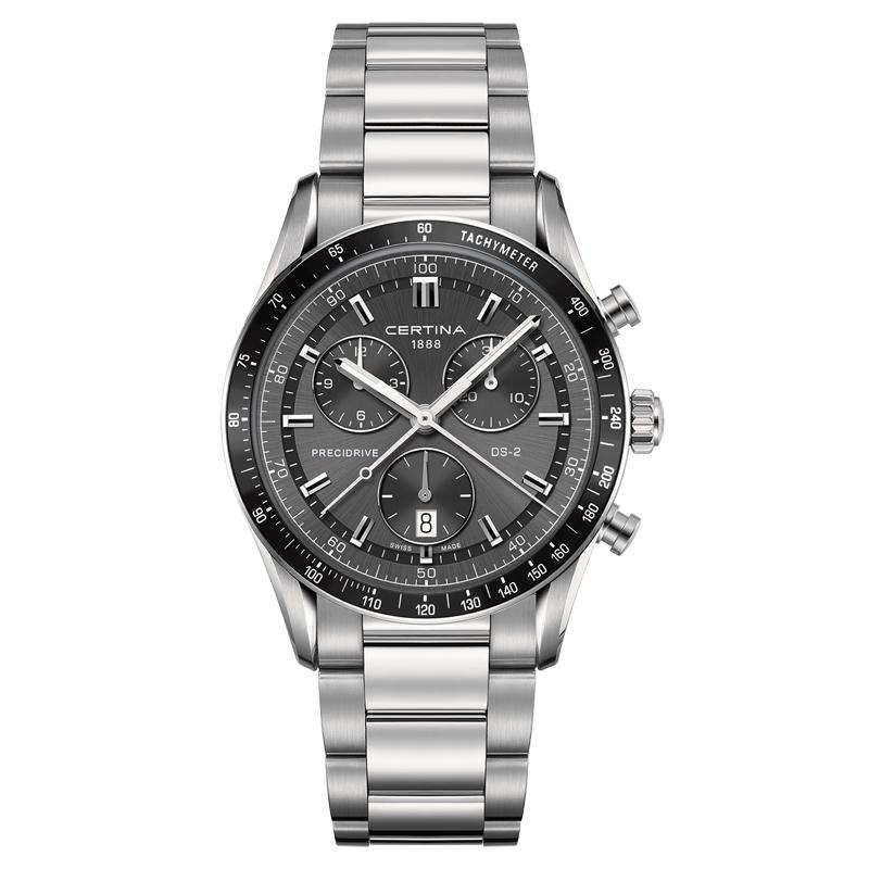 Certina DS 2 chrono 1/100 sec armbåndsur med mørkegrå skive og stållænke