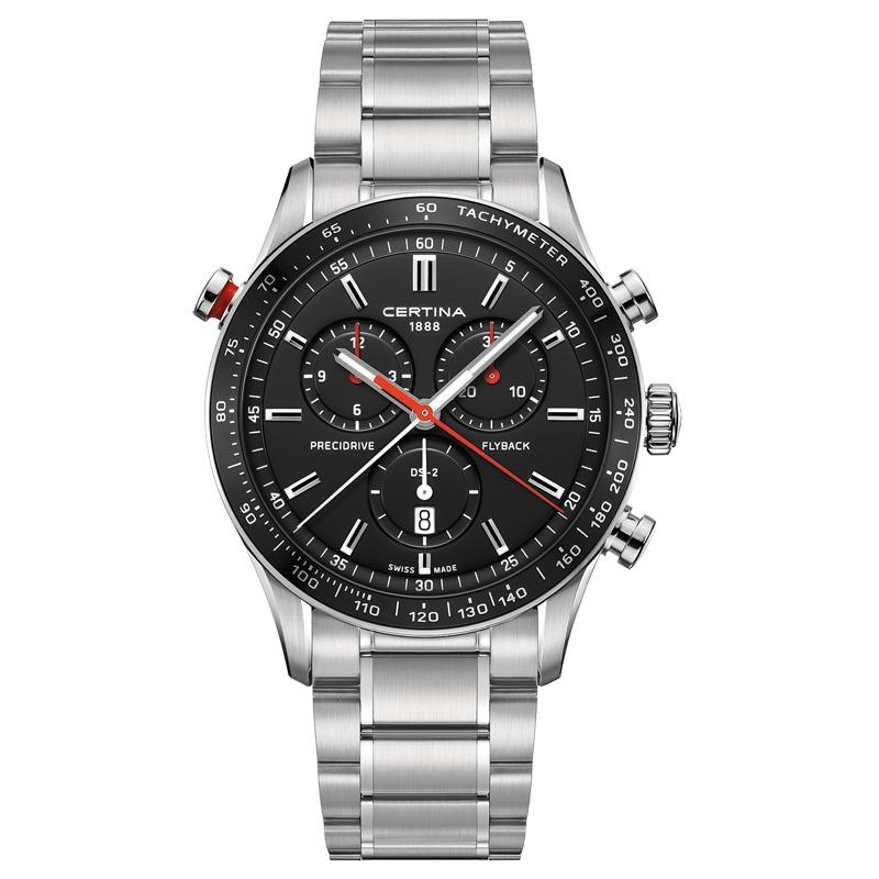Image of   Certina DS-2 chronograph Flyback armbåndsur i stål med stållænke og sort/rød skive