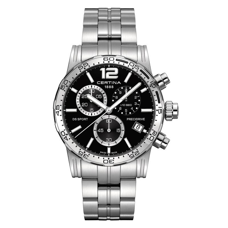 Certina DS Sport Chrono 1/10 sec armbåndsur i stål med lænke