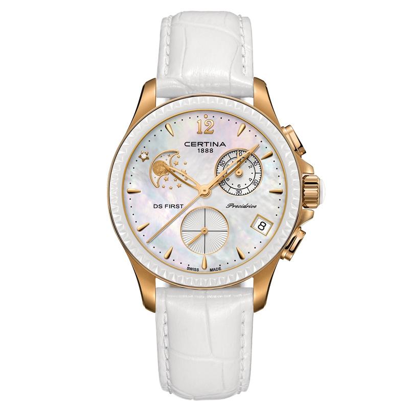 Certina DS First Lady Chrono Moon Phase armbåndsur i hvid/rosaforgyldt