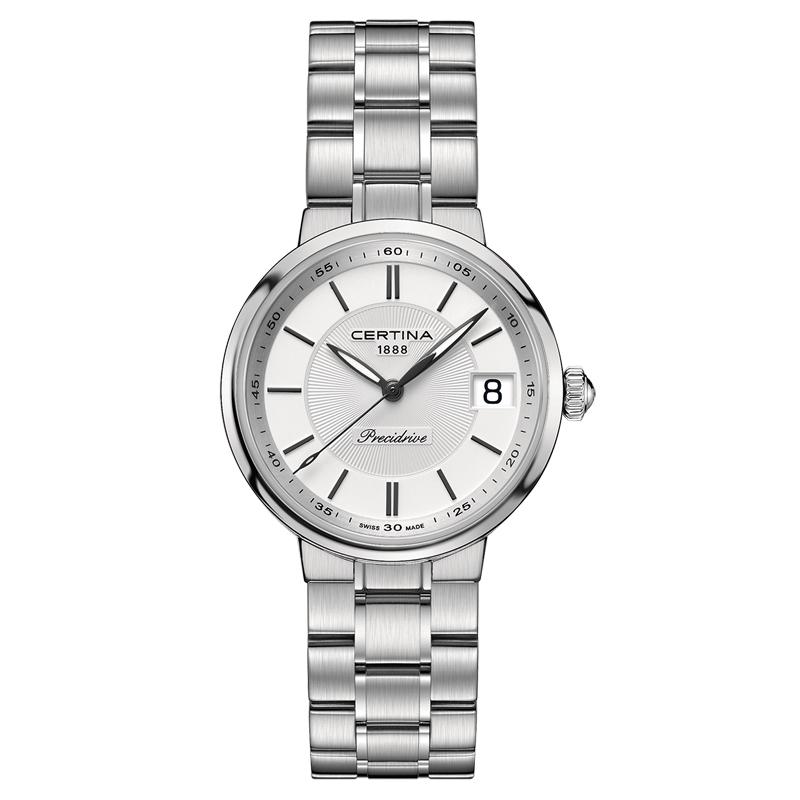 Image of   Certina DS Stella armbåndsur i stål med sølv/hvid skive og lænke