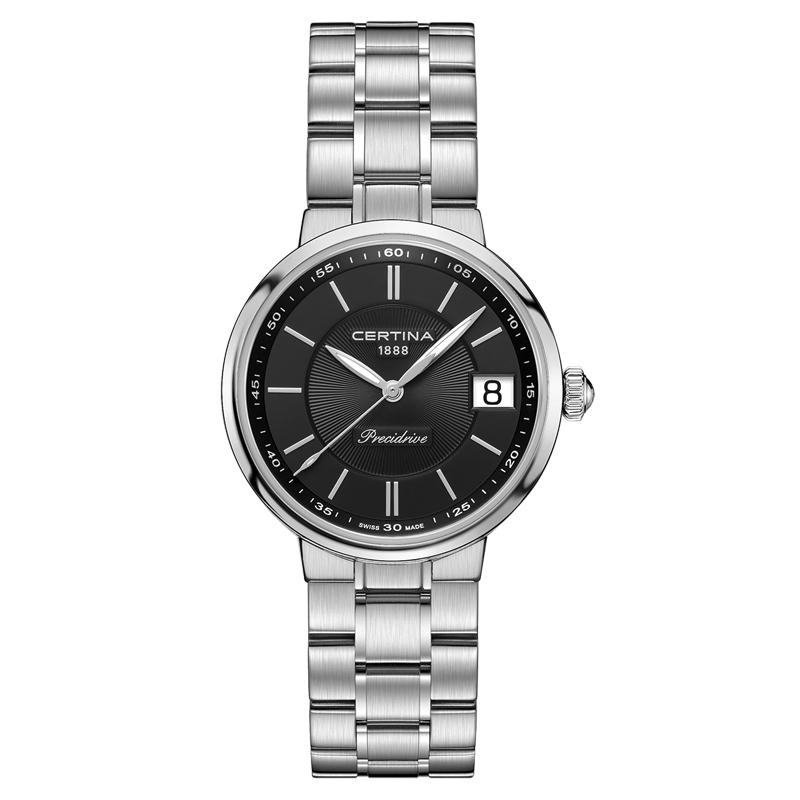 Image of   Certina DS Stella armbåndsur i stål med sort skive og lænke
