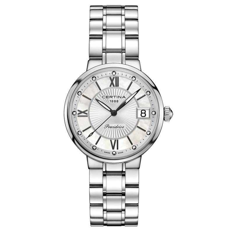 Certina Stella armbåndsur i stål med perlemorsskive, 12 diamanter