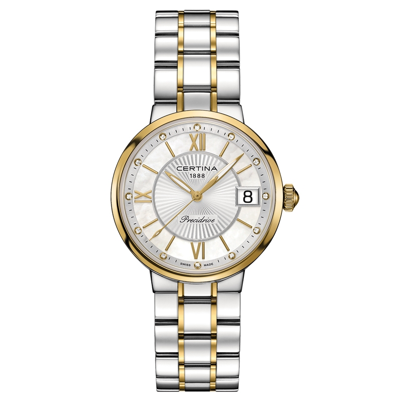 Image of   Certina Stella armbåndsur i bicolor med perlemorsskive, 12 diamanter