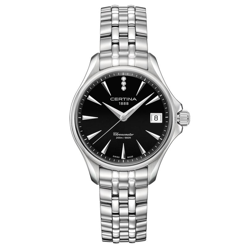 Image of   Certina DS Action Diamonds lady armbåndsur i stål, sort skive med diamanter