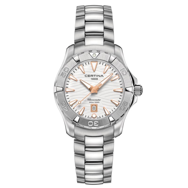 Image of   Certina DS Action lady Chronometer armbåndsur med hvid skive og stål lænke