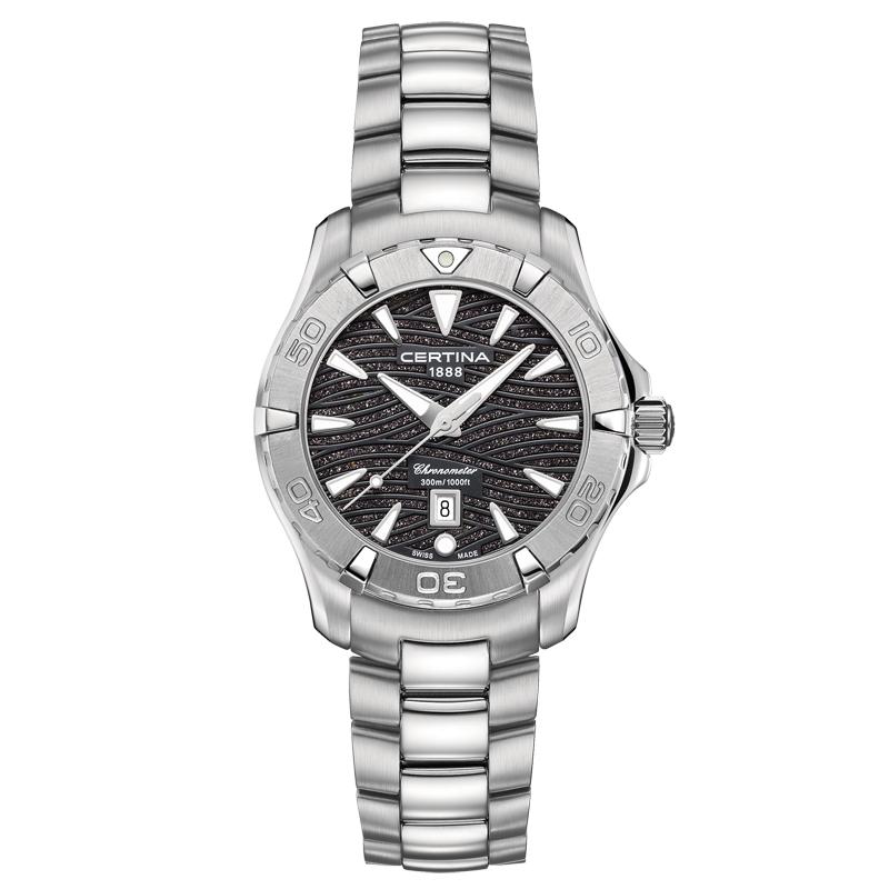 Image of   Certina DS Action lady Chronometer armbåndsur med kobberglimmer skive og stål lænke