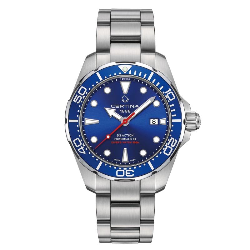 Image of   Certina Action Diver automatic armbåndsur i stål med blå skive
