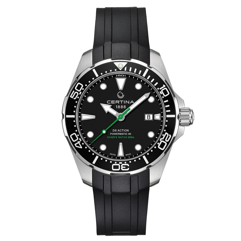 Image of   Certina Action Diver automatic armbåndsur i stål med sort gummirem