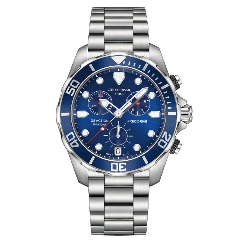 Image of   Certina DS Action Chronograph armbåndsur i stål med blå skive