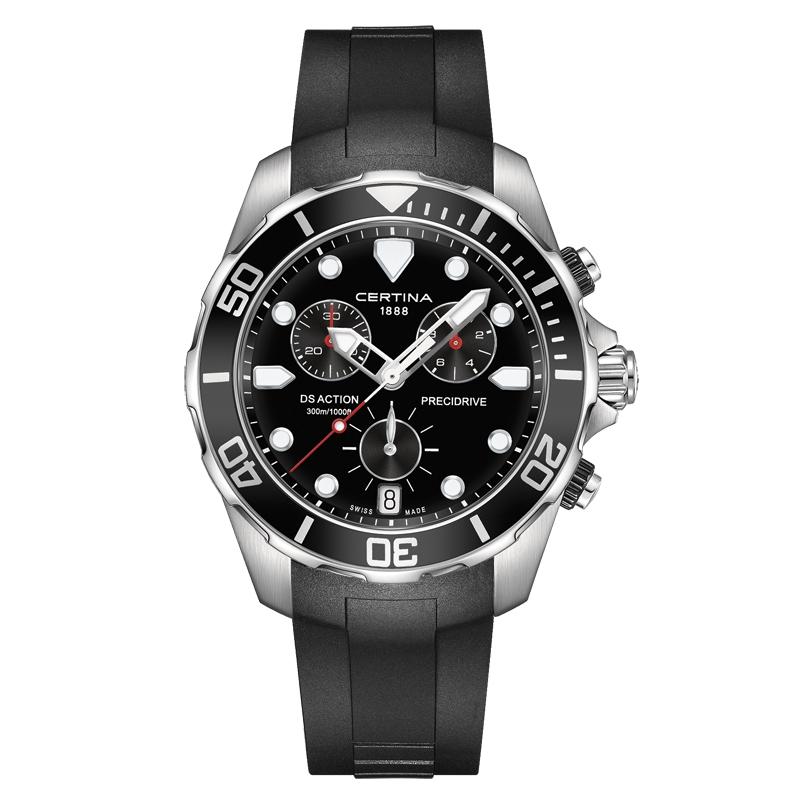 Image of   Certina DS Action Chronograph armbåndsur i stål med sort skive og sort gummirem