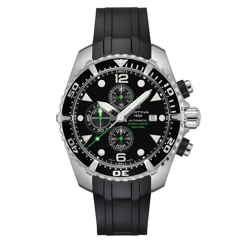 Certina Action Diver chronograph automatic armbåndsur i stål med sort gummirem