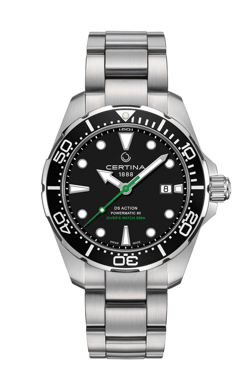 Image of   Certina Action Diver automatic armbåndsur i stål med sort skive