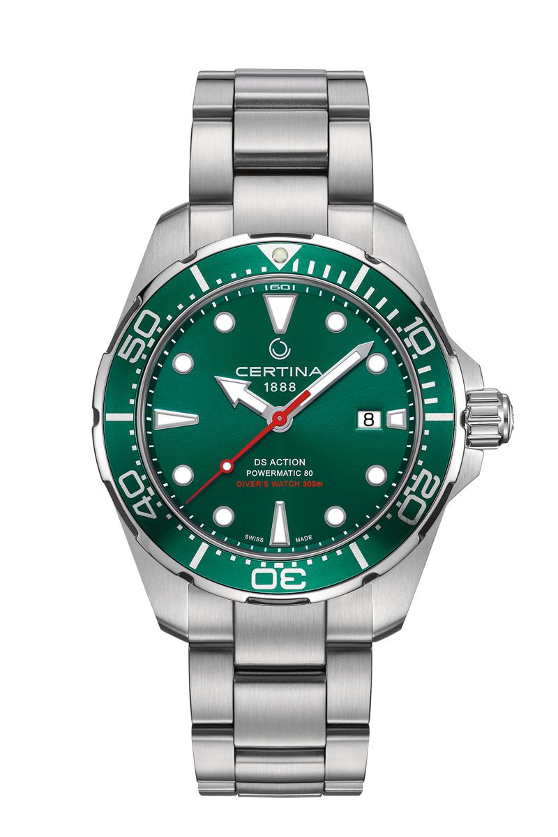 Image of   Certina Action Diver Automatic armbåndsur i stål med grøn skive