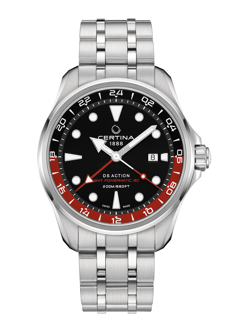 Image of   Certina Action GMT armbåndsur i stål med lænke
