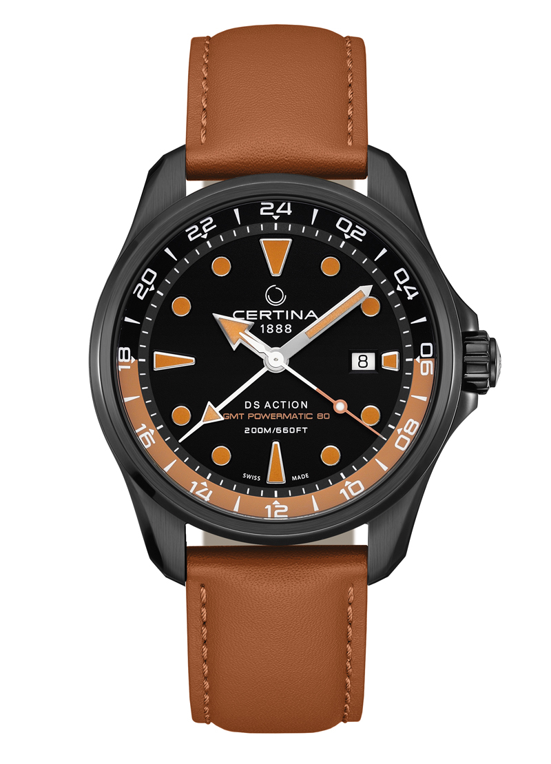 Image of   Certina Action GMT armbåndsur i sort/brun med læderrem