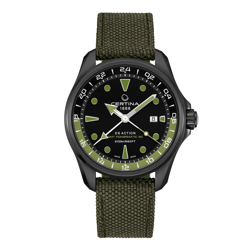 Image of   Certina Action GMT armbåndsur i sort/grøn med nylonrem