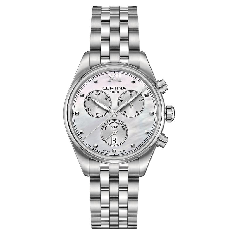 Image of   Certina DS-8 Lady chronograph armbåndsur i stål med perlemors skive