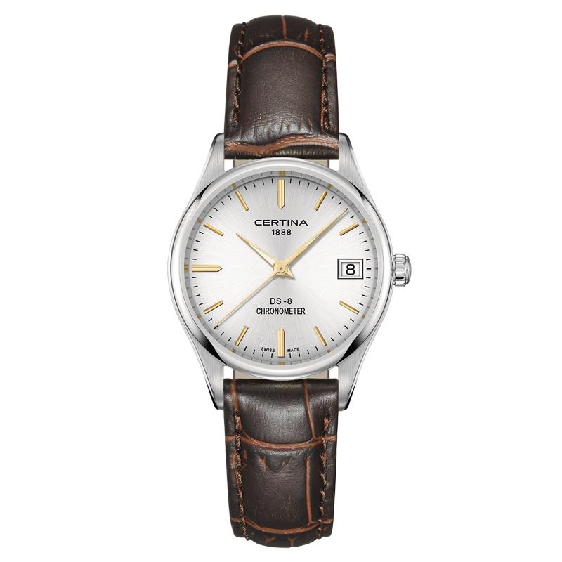 Image of   Certina DS-8 Lady armbåndsur i stål med brun læderrem