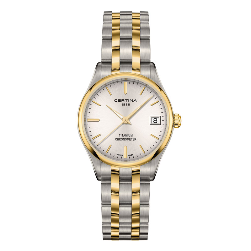 Image of   Certina DS-8 Lady titanium bicolour chronometer armbåndsur med lænke