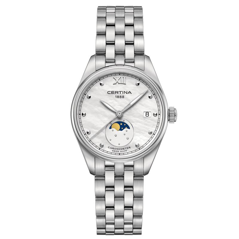 Image of   Certina DS 8 Moon Phase armbåndsur i stål med hvid perlemorsskive