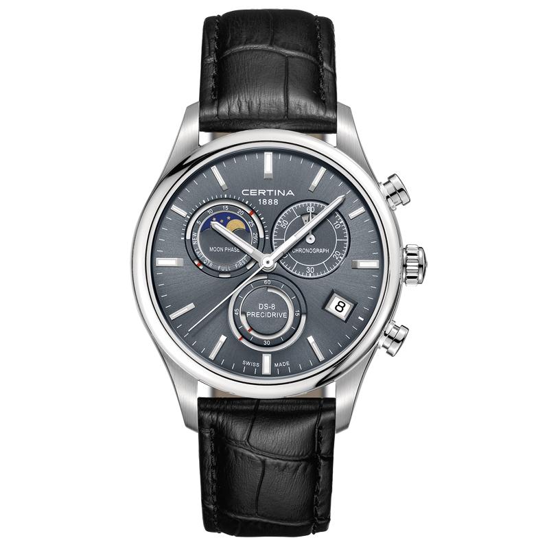 Image of   Certina DS-8 chronograph moon phase armbåndsur med månefase i stål med sort kroko læderrem