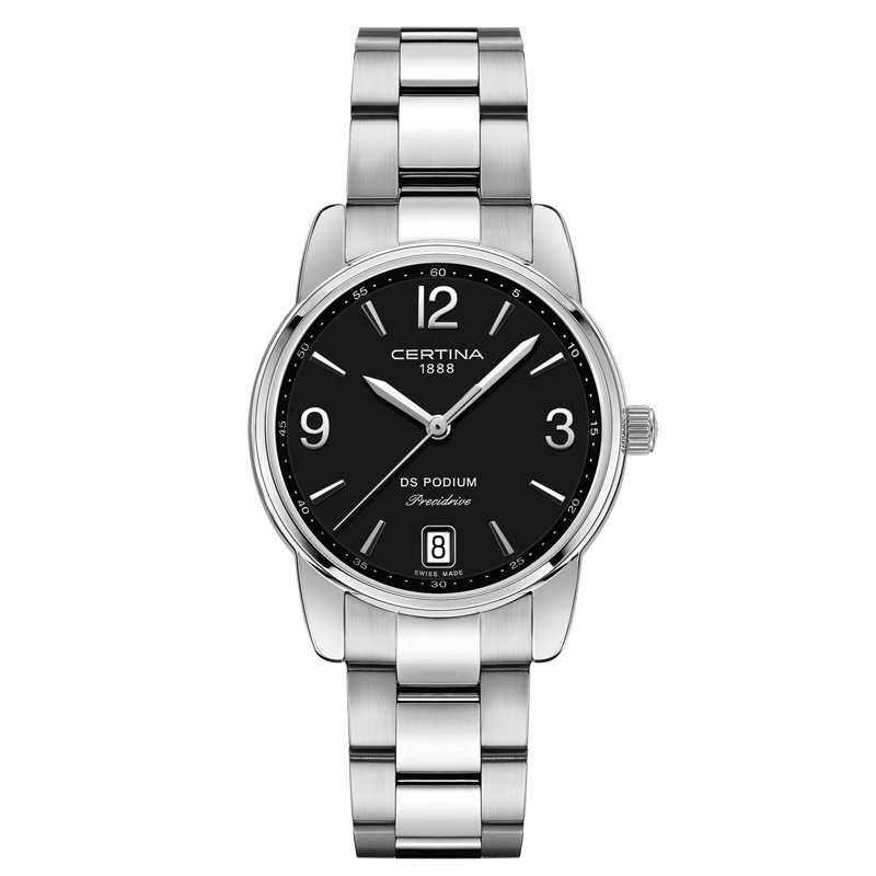 Image of   Certina DS Podium Lady 33 mm armbåndsur stål med sort skive