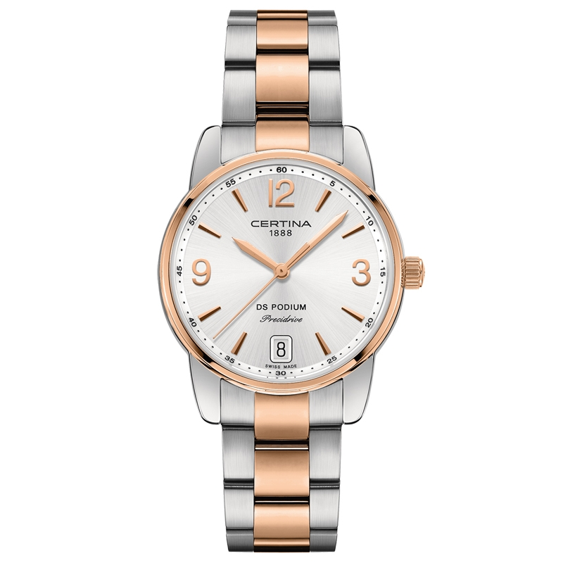 Image of   Certina DS Podium Lady 33 mm armbåndsur bicolor med grå skive