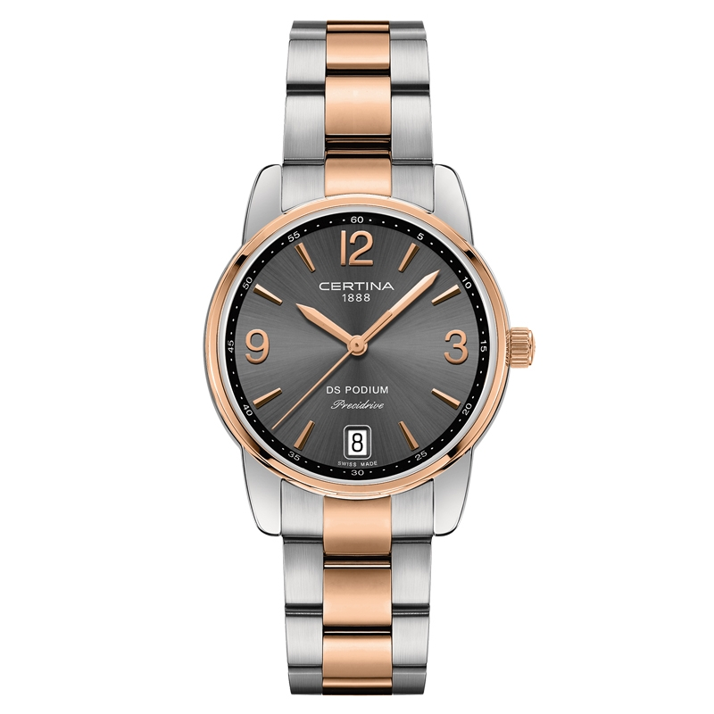 Image of   Certina DS Podium Lady 33 mm armbåndsur bicolor med mørkegrå skive