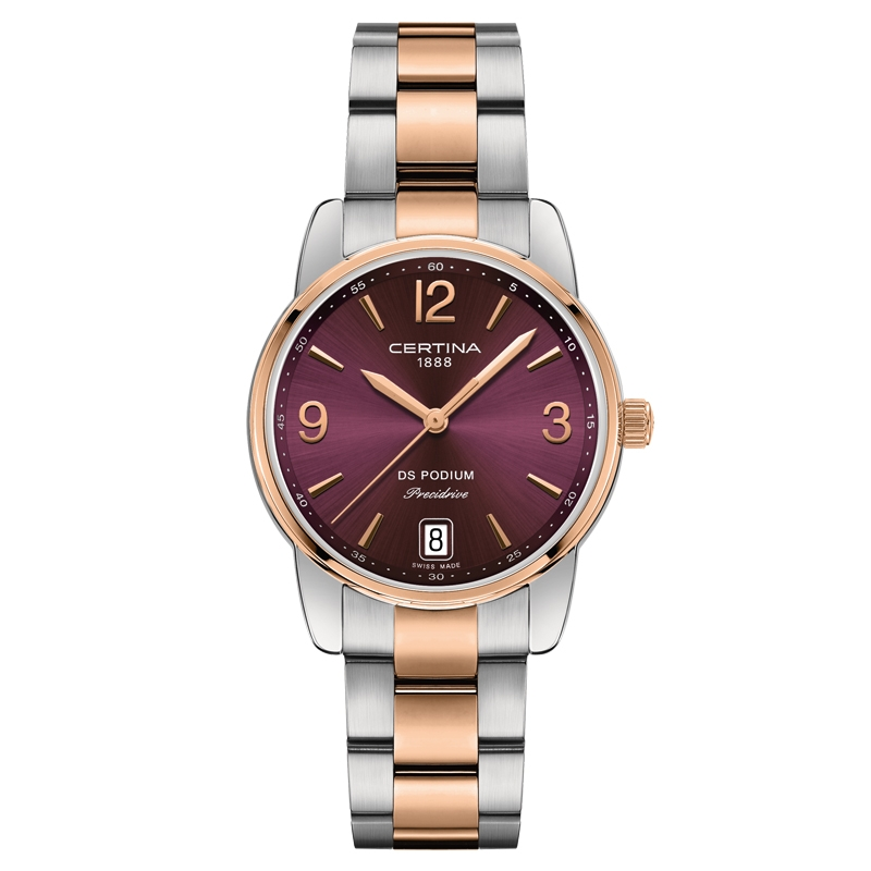 Image of   Certina DS Podium Lady 33 mm armbåndsur bicolor med mørkerød skive